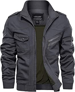 TACVASEN Men's Lightweight Military Cotton Jacket Outdoor Casual Cargo Jackets with Multi Pockets