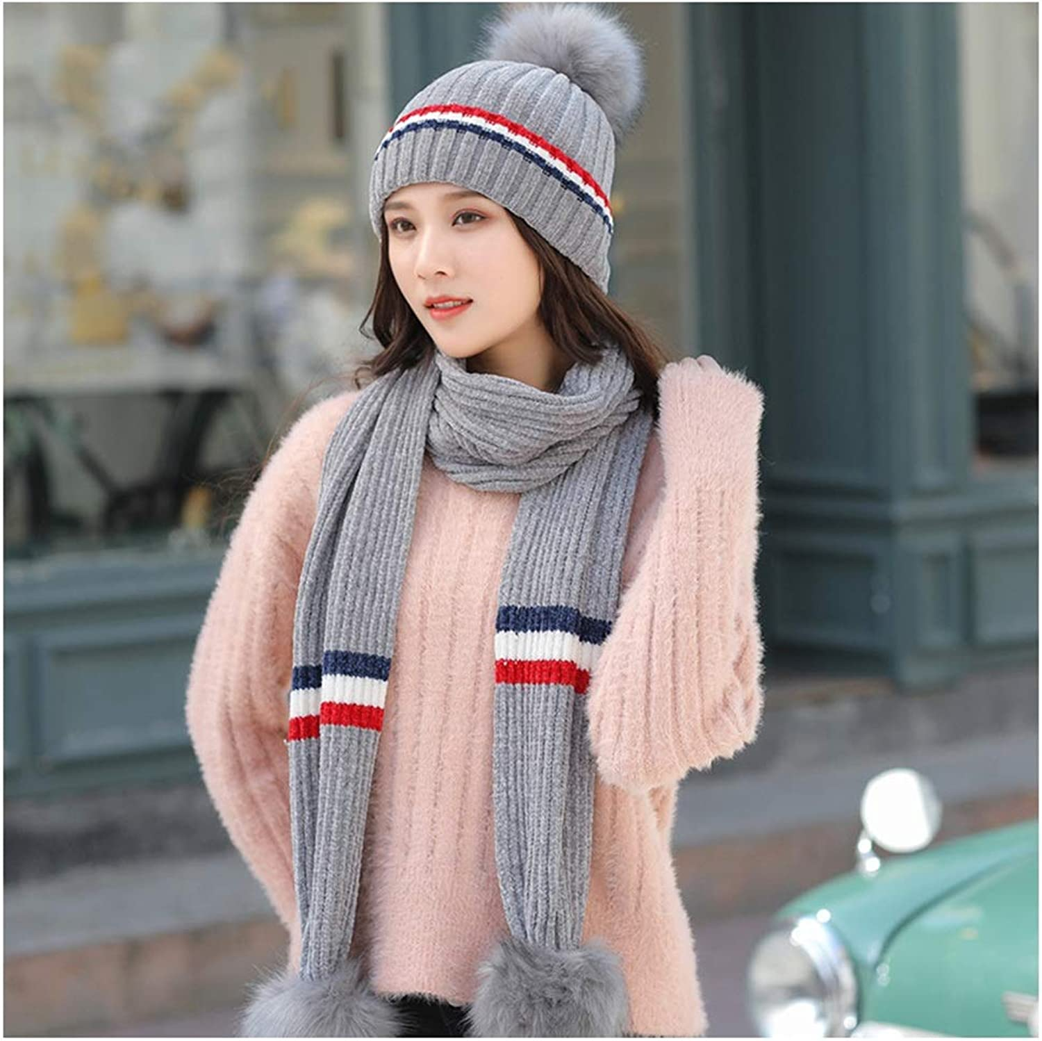 CHAXIA Hat Scarf Set Female Winter Keep Warm Knitting Korean Version Wild 2Piece Set, 6 colors (color   E)