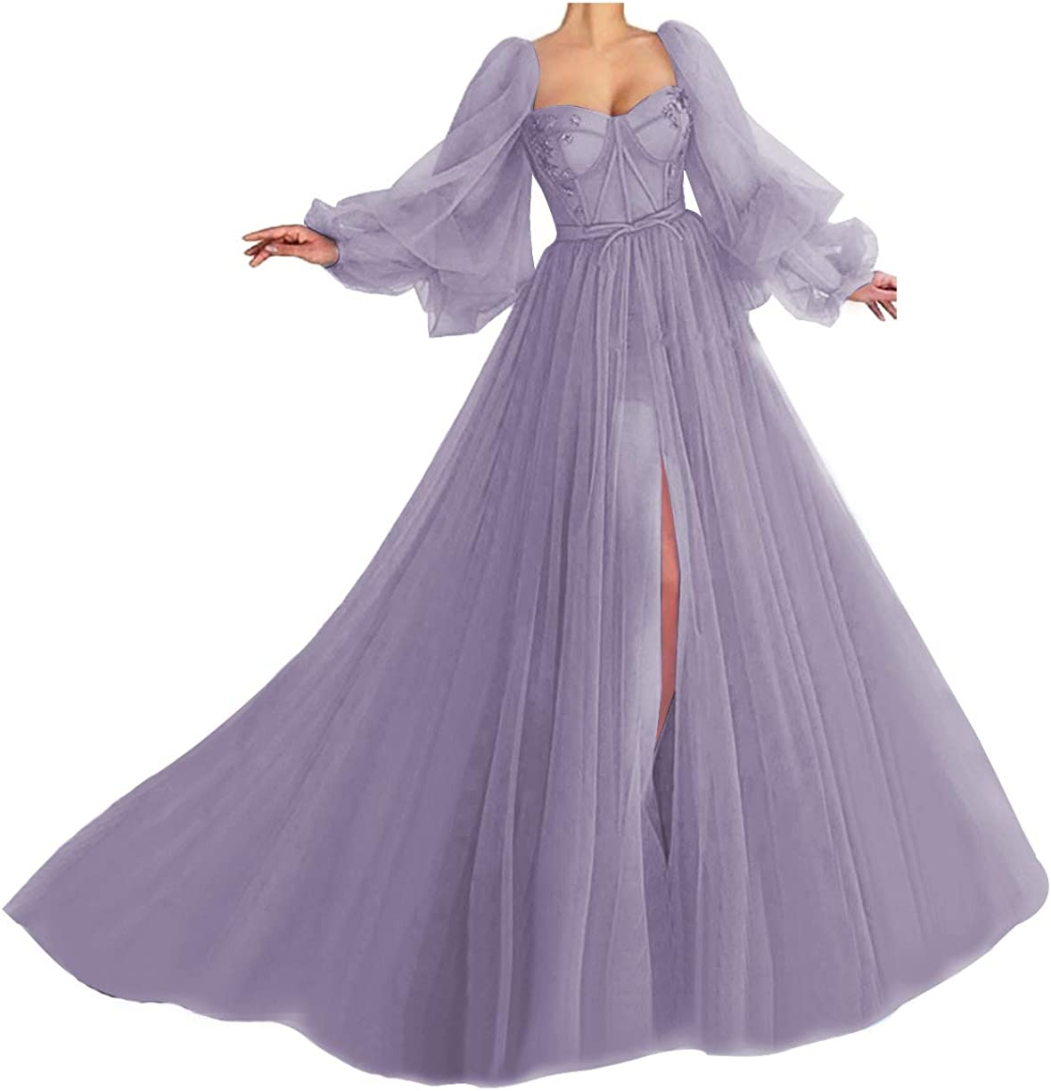 Women's Puffy Sleeve Prom Dress Ball Gown Tulle Sweetheart Wedding Formal Evening Gowns with Split