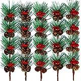 Pinzas de pino artificiales, 20 unidades de madera de pino artificial, ramas de pino con bayas de piña para arreglos de flores de Navidad, coronas, árboles y regalo DIY