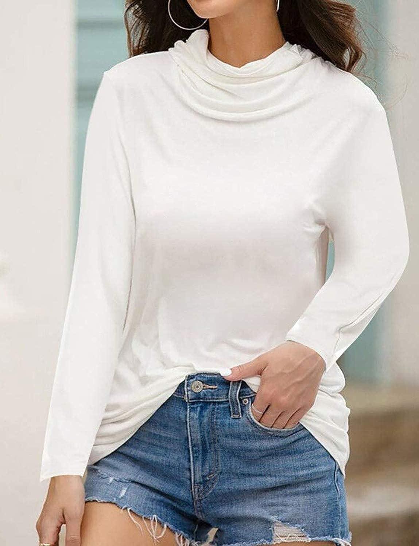 BUOYDM Mujer Casual Shirts Turtleneck Ligero Suave Elasticidad Camisa Moda Multifuncional a Prueba de Polvo mascarilla Tops