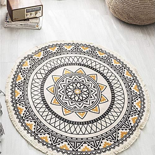Lanqinglv Teppich Runder 150cm Bohemian Mandala Muster Teppiche Indische Handgemachte Weben Quaste Baumwolleteppich Leinen Schwarz Gelb Dekorative Wohnzimmer Küche Modern Fußmatte Teppich Rund