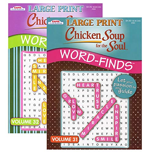 Kappa Large Print Chicken Soup for The Soul Word Finds Puzzle Book 2 Titles, Word Search Find Words Books for Adults Teens, Training Learning with Game, 2-Pack