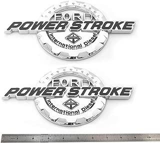 2pcs OEM Power Stroke International Diesel Side Fender Emblems 3D Logo 6.0L 6.7L 7.3L Powerstroke Badge Replacement for F150 F250 F350 Chrome Black