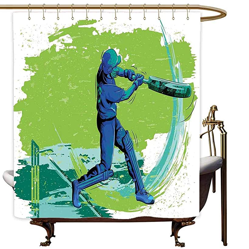 MaryMunger Shower stall Curtains Sports Cricket Player Pitching Win Game Champion Team Paintbrush Effect Shower Curtain with Hooks W108x72L Navy Blue Turquoise Lime Green