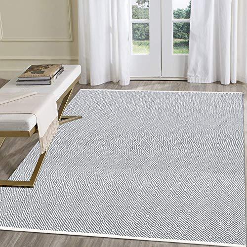 Pauwer Teppiche Handgewebte Baumwolle Teppich rutschfest Abwaschbar Bereich Teppich, Ideal für Wohnzimmer Schlafzimmer Kinderzimmer (Hellgrau, 120 x 180 cm)