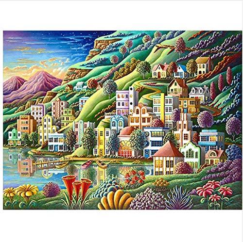 WFYY Pintar por números Kits para niños Adultos Color del mar Área residencial de Dibujos Animados Pintura al óleo sobre Lienzo Foto DIY-Marco Incluido 16X20 Inch