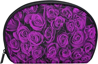 ZZKKO Purple Floral Rose Cosmetic Bag Train Case Toiletry Organizer Travel with Compartments, Valentines Day Holiday Makeup Bag Zipper Pouch for Teen Girls Women Small Purse