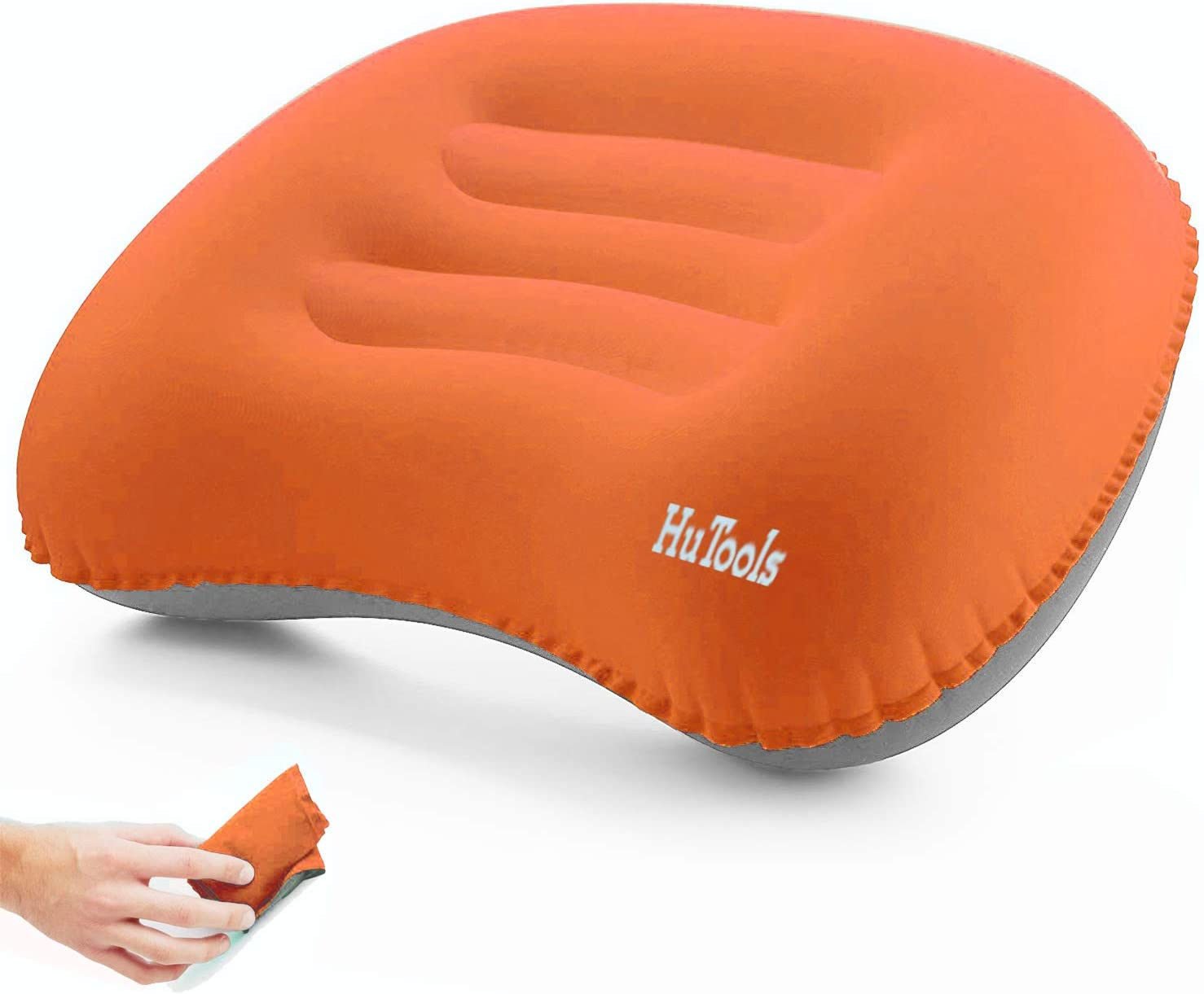 HuTools Inflatable Camping Pillow Backpacking Pillow Lightweight Compressible Travel Air Pillow Ultralight Ergonomic Pillow Portable for Camping with Neck /& Lumbar Support (Gray)