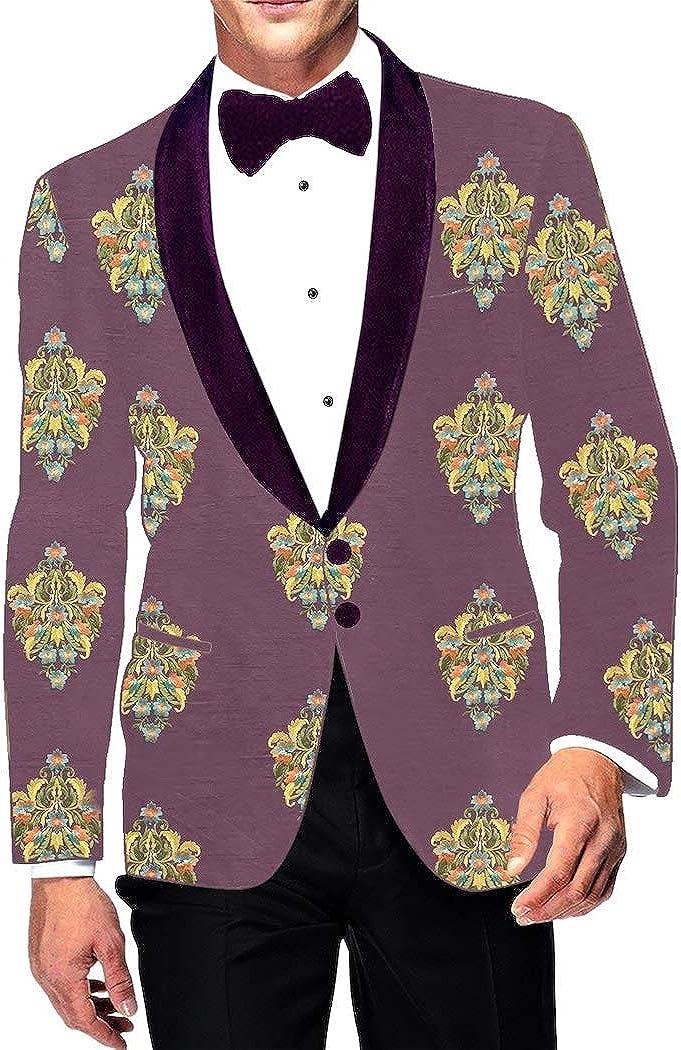 INMONARCH Purple Wine Embroidered Sport Jacket Coat Shawl Collar Mens Blazer SBM1041