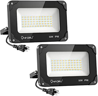 Onforu 2 Pack 50W LED Flood Light with Plug, 5000lm Super Bright LED Work Light, IP66 Waterproof Outdoor Security Lights, ...