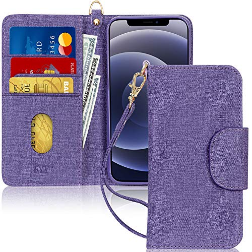 "FYY Case Compatible for iPhone 12 Mini 5G 5.4"", [Kickstand Feature] Luxury PU Leather Wallet Case Flip Folio Cover with [Card Slots] and [Note Pockets] for iPhone 12 Mini 5G 5.4"" Canvas Purple"