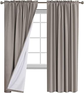 Flamingo P Full Blackout Taupe Curtains with White Liner Thermal Insulated Waterproof Window Treatment Panels, Rod Pocket ...