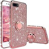 TVVT Glitter Crystal Funda para iPhone 7 Plus/iPhone 8 Plus, Glitter Rhinestone Bling Carcasa Soporte Magnético de 360 Grados Ultrafino Suave Silicona Lujo Brillante Rhinestone - Rosa