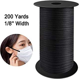 VOLADOR 200 Yard 1/8 inch Width Knit Elastic Band Heavy Stretch Bungee Elastic Cord Elastic Rope Elastic Spool for Sewing DIY Crafts Beading (Black)