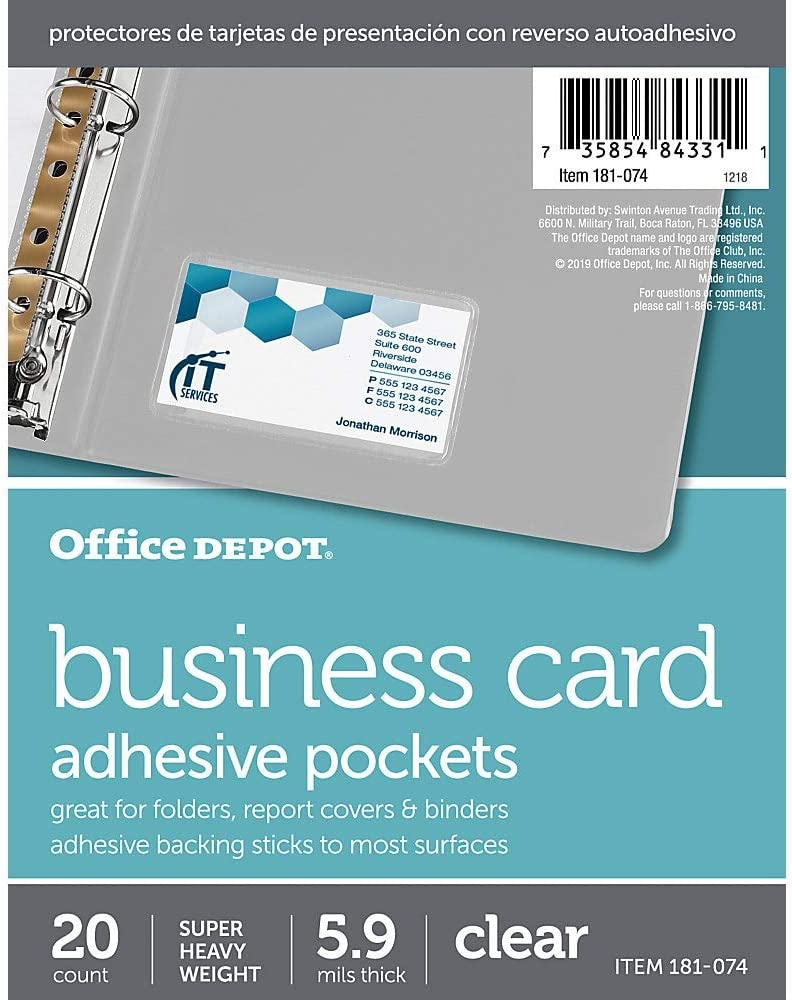 Office Depot Adhesive Business Card Pockets, Pack of 20, 182074