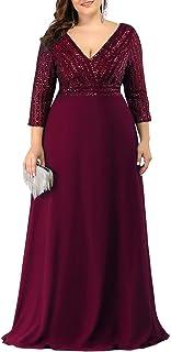 Women's Deep V-Neck Sparkle Plus Size Evening Dress with...
