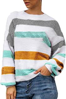 Womens Soft Color Block Crewneck Loose Fit Pullover Sweaters