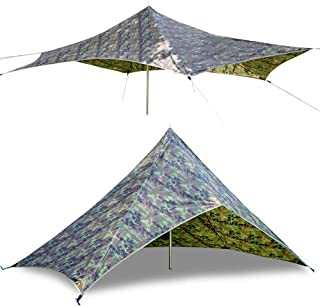 GEERTOP Large Camping Shelter Tarp Lighweight Backpacking Hunting Tarp 210T Ripstop Rain Fly Tent Tarp Beach Hammock Sun Shade Portable Outdoor Survival Gear Camping Accessories Hunting Shelters Camo