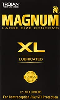 Trojan Magnum XL Size Lubricated Latex Condoms - 12 ct, Pack of 6