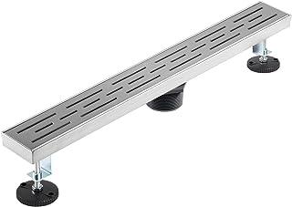 VEVOR Desagüe Lineal para Ducha, 61 x 7 cm Orificios en Forma de Tira Acero Inoxidable Desagüe Lineal, 30 L/min Diámetro d...