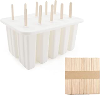 Ice Popsicle Mold, Chokov 10 Capacity Ice Pop Mold Silicone for Ice Cream Bar Handmade Frozen Yogurt, DIY Ice Sucker Ice Cream Mold Tray Tools with 50 Wooden Sticks