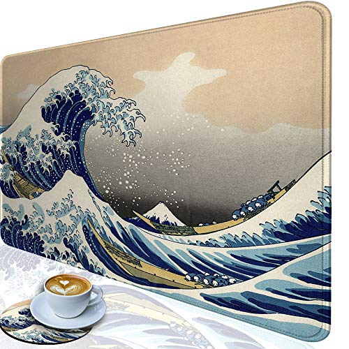 Desk Pad-Large Gaming Mouse Pad with Stitched Edges, Extended Computer Mouse Pad Water-Resistant Writing Pads with Non-Slip Rubber Base 31.5 x 11.8 in,with Coasters(Japanese Kanagawa Great Heavy Wave)
