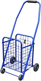 Remolque de Mano portátil de la Carretilla Plegable del Carro de la Compra 4-Wheel con la Cesta de Compras Exquisita (Color : Blue, tamaño : 76cm)
