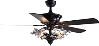 """SILJOY 50"""" Ventilateur de plafond à pales réversibles avec lampes et lustre classique d'intérieur à distance Kit d'éclaira..."""