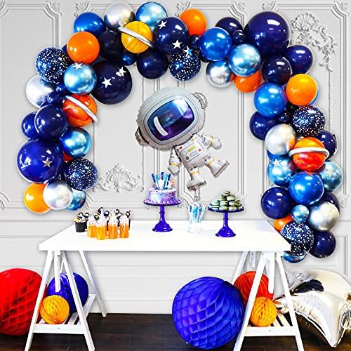 MMTX Espacio Decoraciones Cumpleaños de Fiesta,Globo de Fiesta Espacial Astronauta cumpleaños con Globos de látex,Temáticas del Espacio Exterior Arco Globos,niña niño Tema cumpleaños Decor(77 Pcs)