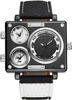 C-Xka Large dial design Men's Multi Time Zone Analogue Quartz Watch Sport Canvas Band Wristwatches (Color : D)