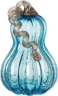 """Glitzhome Decorative Hand Blown Glass Pumpkin Figurine, 8.46""""H, Blue"""