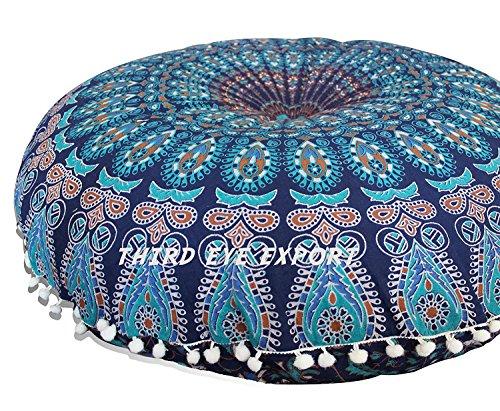 """Eyes of India - 32"""" mandala Cojín de suelo Asiento Cojín Manta tapa hippie Decorativo Boho bohemio indio - Azul Oscuro #1"""