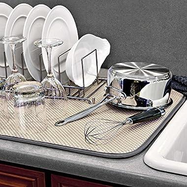 The OriginalTM XL Dual Dish Drying Mat - Dual Sided Microfiber Absorbent Machine Washable Multipurpose 18 X 24 (Grey)