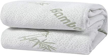 Dreamaker Bedding Bamboo Cotton Knitted Waterproof Mattress Protector - Anti Microbial Hypoallergenic Noise Free Laminated...