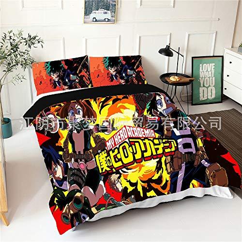 Zenghh Mi héroe Academia Blast 3pcs Funda de edredón con 2 pillowcasas, panel multicolor halo tinteing colcha hoja juego de muebles, edredón de cáscara almohada caja protector de estuches para el hoga