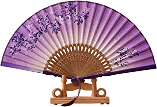 rosenice ventiladores de mano plegable ventilador de bambú Mano Ventilador con borla (púrpura + negro)
