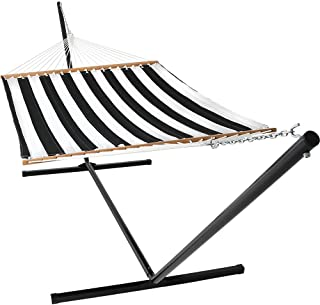 Sunnydaze 2-Person Freestanding Double Hammock with 15-Foot Stand and Spreader Bars, Quilted Fabric Bed, 400-Pound Capacity, Black and White