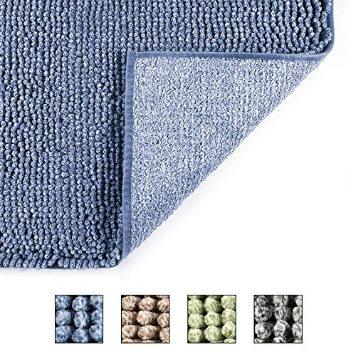 COSY HOMEER 50X80cm Badematte, rutschfest Waschbar Badezimmerteppich, Weich Badvorleger aus Chenille, Trocknend und Schimmelresistent Badteppich für Badezimmer (blau)