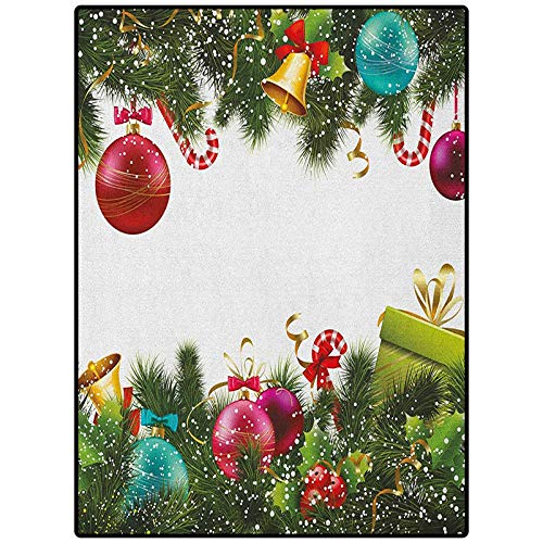Christmas Premium Rug Rug for Dorm Living Room Kids Carpet Snowy Winter Xmas Time Happy New Year Greeting Presents Bells Leaves Garland Multicolor 54' x 28'