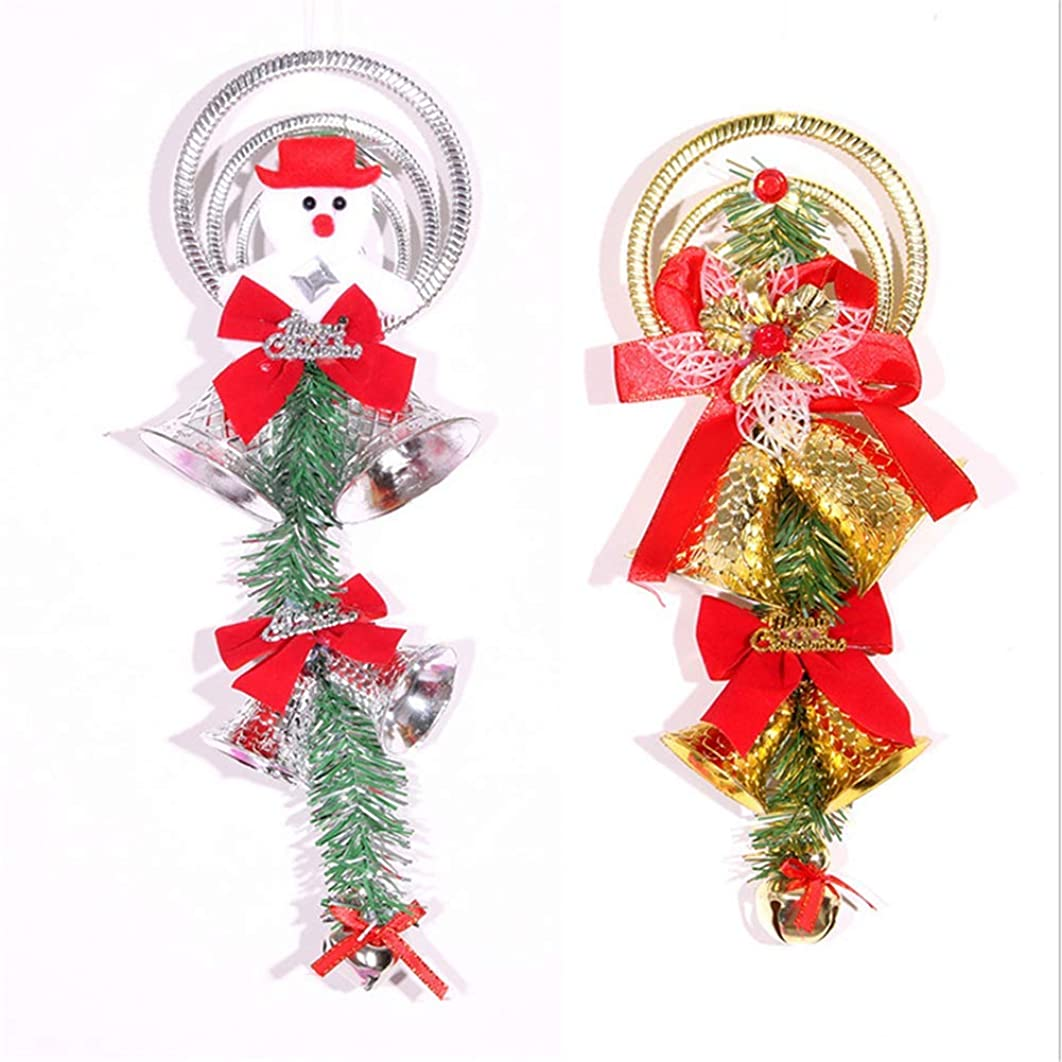 仲間段落有害ハンギングデコレーション ベル 雪だるま クリスマスツリー飾り 可愛い クリスマスギフト (シルバー, OneSize)