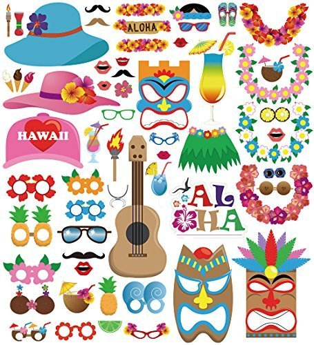 Sinoest Fotobox Requisiten Hawaii - 60 TLG Sommerfest Fotorequisiten Photo Booth Hochzeit Accessories für Sommer Hochzeit Geburtstag Party Deko
