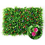 15.7'' x 23.6'' Artificial Leaf Fence Screen, Plant Hedge Privacy Fence with Flowers, Decorative Ivy Fencing Panel, UV Protected Greenery Wall Backdrop for Outdoor Garden Fence Decor
