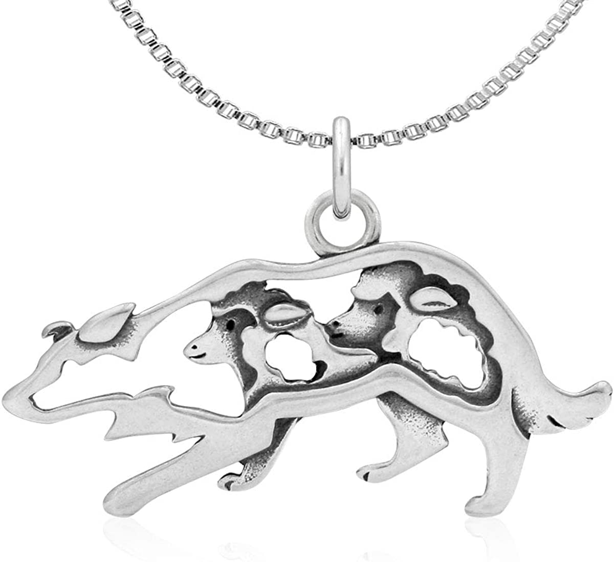 Sterling Silver Small Crouch Border Collie Pendant,w//Sheep in Body