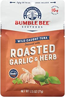 BUMBLE BEE Roasted Garlic & Herb Seasoned Tuna, 2.5 oz. Pouch with Spoon (Pack of 12), Wild Caught Tuna Fish, Tuna Pouch, ...