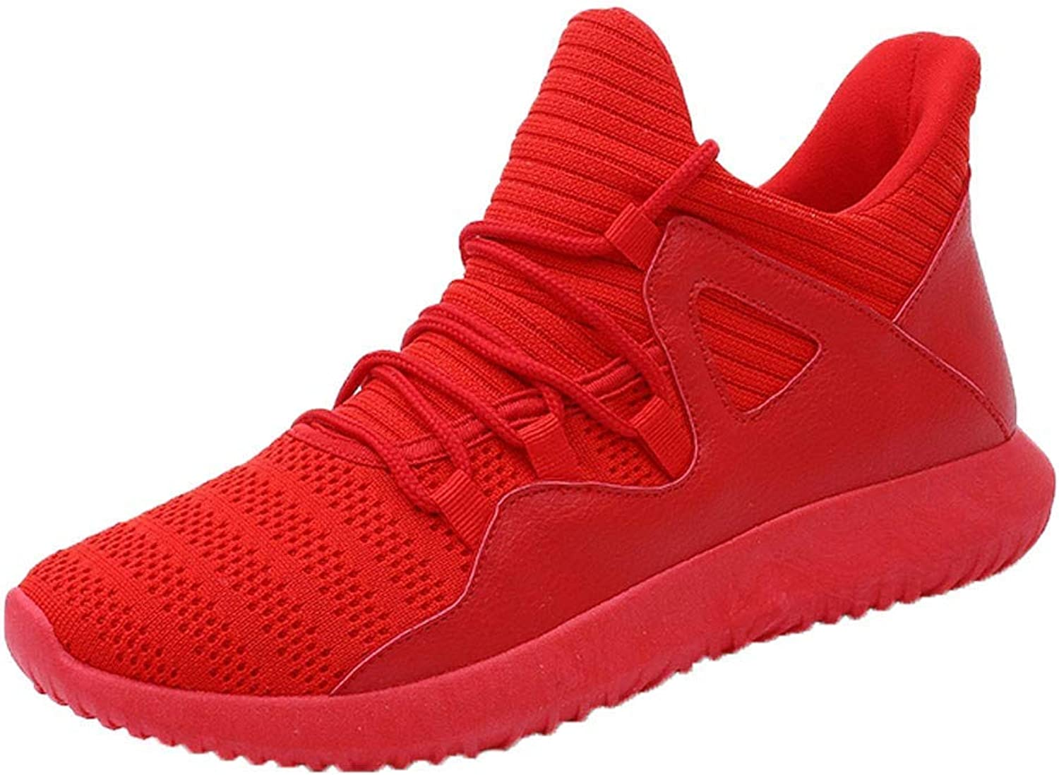 JaHGDU Mens Red Solid color Personality Sneakers Lace Up Sports Running Gym Fitness Training Fashion Comfort Wild Daily Casual Stylish Hipster shoes