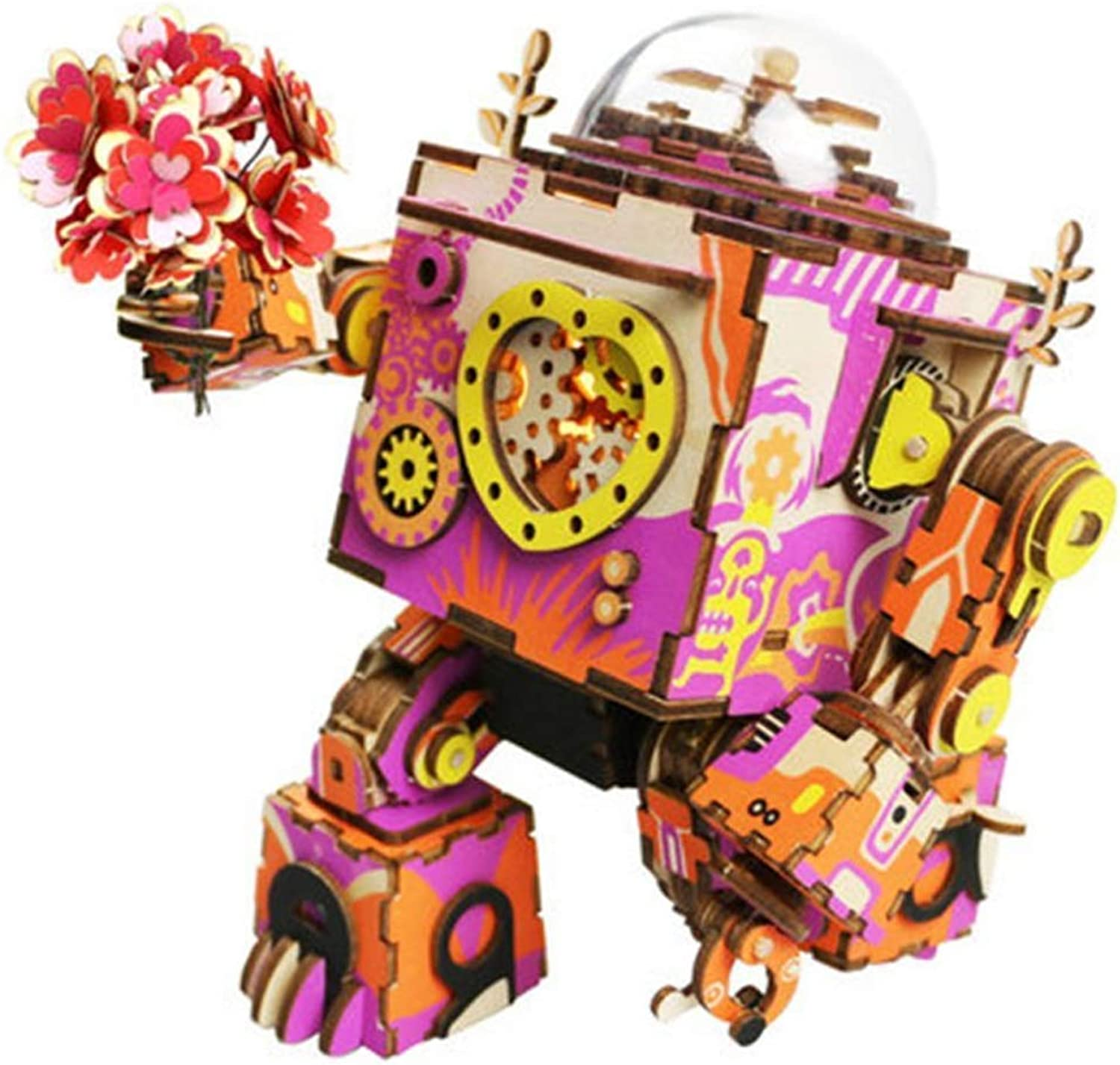ZYX Wooden Music Box  Diy 3D Cutting Wooden Puzzle Steampunk Robot Model Wooden Gear Lead Light Music Box Christmas Birthday Valentine's Day Creative Gifts