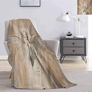 Luoiaax Sculptures Plush Throw Blanket for Couch Statue of Angel Woman in Medieval Cathedral Site Vintage Style Mythical Design Lightweight Life Comfort Blanket W70 x L84 Inch Yellow White
