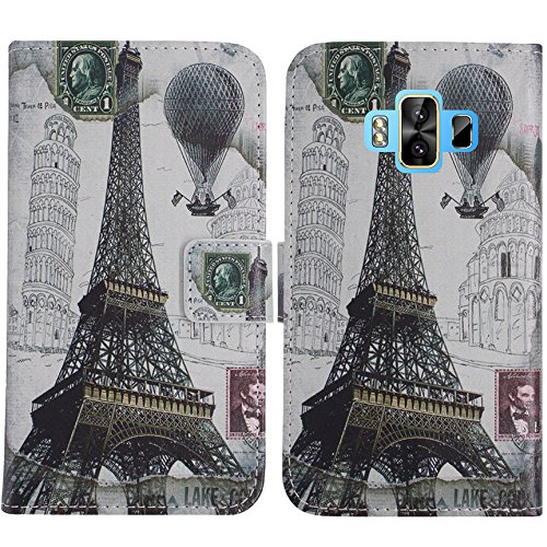 TienJueShi Eiffelturm Flip Book-Style Brief Leder Tasche Schutz Hulle Handy Hülle Abdeckung Fall Wallet Cover Etui Skin Fur M-Horse Pure 1 5.7 inch