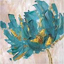 """Faicai Canvas Flower Paintings Turquoise and Gold Lotus Hand Painted 3D Textured Oil Paintings Modern Abstract Canvas Wall Art Pictures Home Decor for Living Room Office Hotel Wooden Framed 32""""x32"""""""